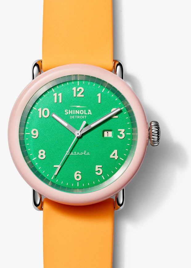 "Detrola ""The Islander"" 43mm Watch with Green Dial and Orange Silicone Strap"