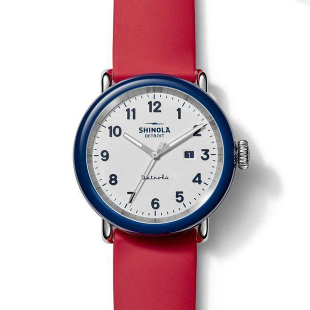 "Detrola ""The Ace"" 43mm Blue Watch with White Dial and Red Silicone Strap"