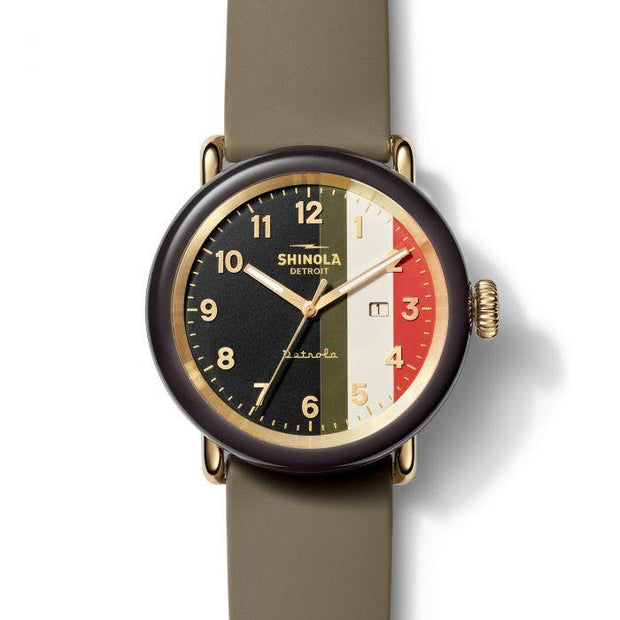 "Detrola ""The Burnout"" 43mm Watch with Multicolor Dial and Khaki Silicone Strap"