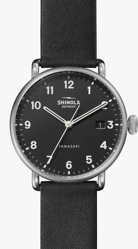 Great American Series 38mm Watch with Black Mineral Textured Dial and Black Leather Strap