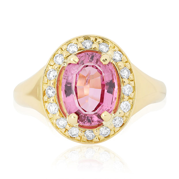 18K Yellow Gold Spinel and Diamond Ring
