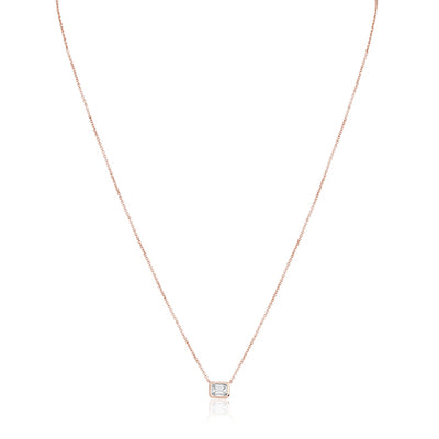 18K Rose Gold and Emerald Cut Diamond Necklace