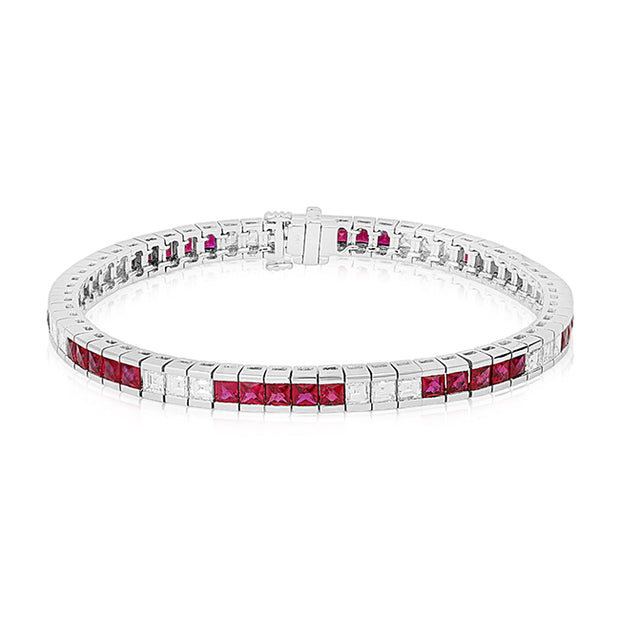 18K White Gold Princess Cut Ruby and Diamond Straight Line Bracelet