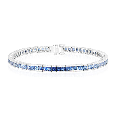 18K White Gold Bracelet with Blue Sapphires