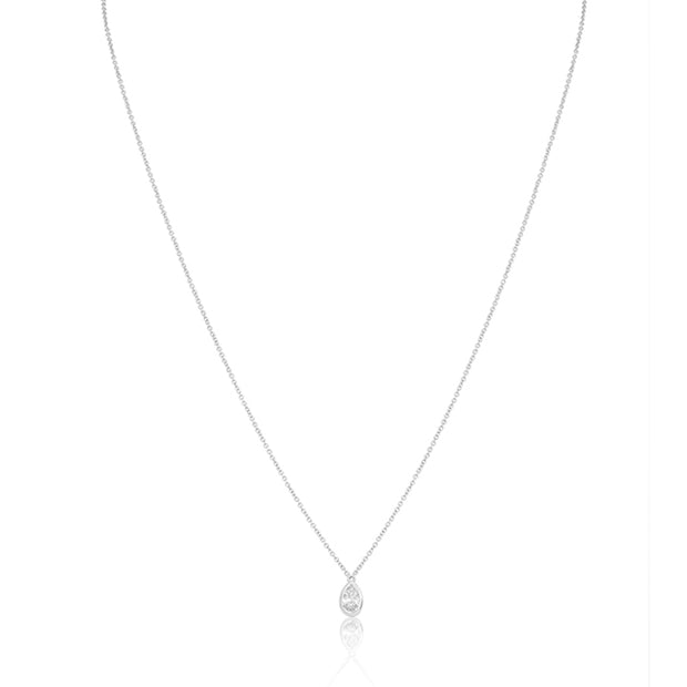 18K White Gold Necklace with a Pear Shaped Diamond Pendant