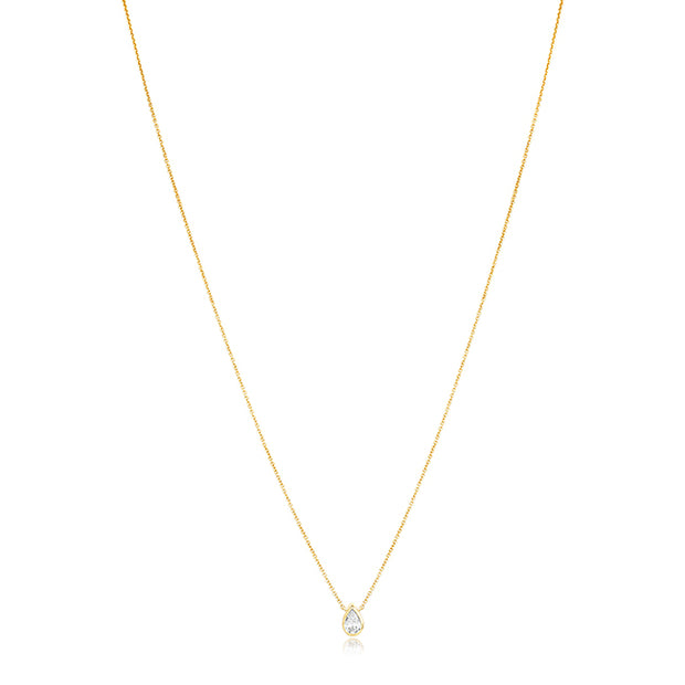 18K Yellow Gold Necklace with a Pear Shaped Pendant