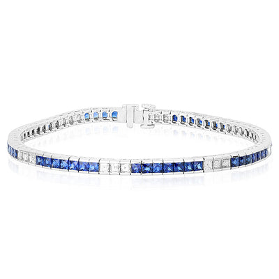 18K White Gold Diamond and Sapphire Bracelet