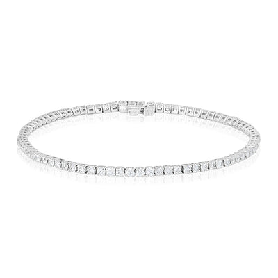 18K White Gold and Diamond Straight Line Bracelet