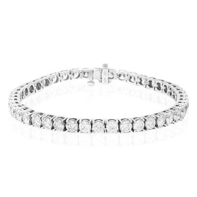18K White Gold Straight Line Diamond Bracelet