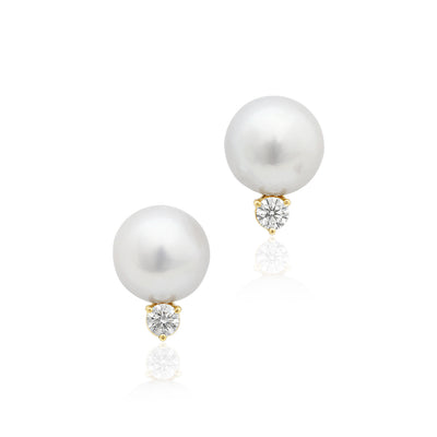 18K Yellow Gold South Sea Pearl and Diamond Stud Earrings