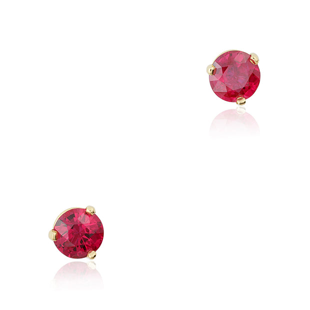 18K Yellow Gold Ruby Stud Earrings