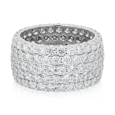 18K White Gold Five Row Diamond Eternity Band