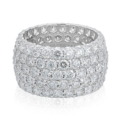 18K White Gold Five Row Diamond Band