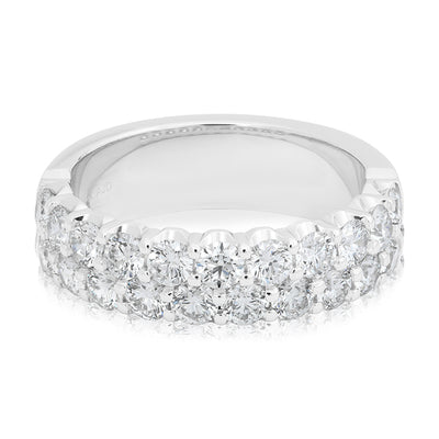 Tivol White Gold Two Row Diamond Band