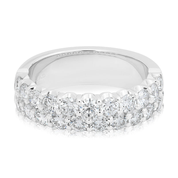 White Gold Two Row Diamond Band
