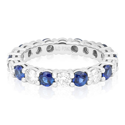 Platinum Diamond and Sapphire Eternity Band
