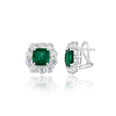 18K White Gold Diamond and Emerald Earrings