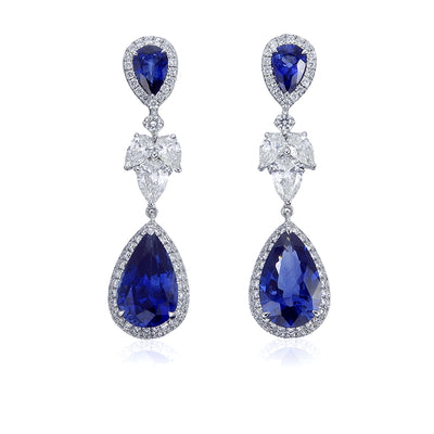 18K White Gold Sapphire and Diamond Halo Drop Earrings