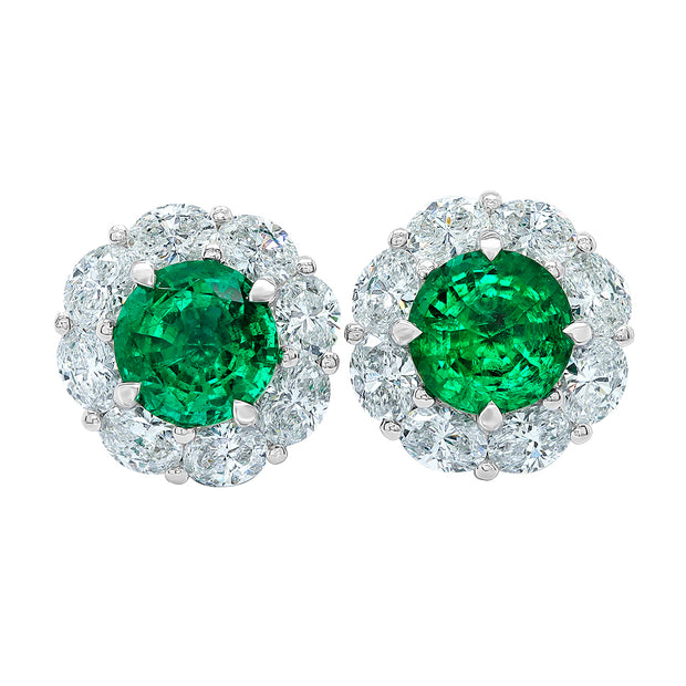 18K White Gold Emerald and Diamond Halo Stud Earrings