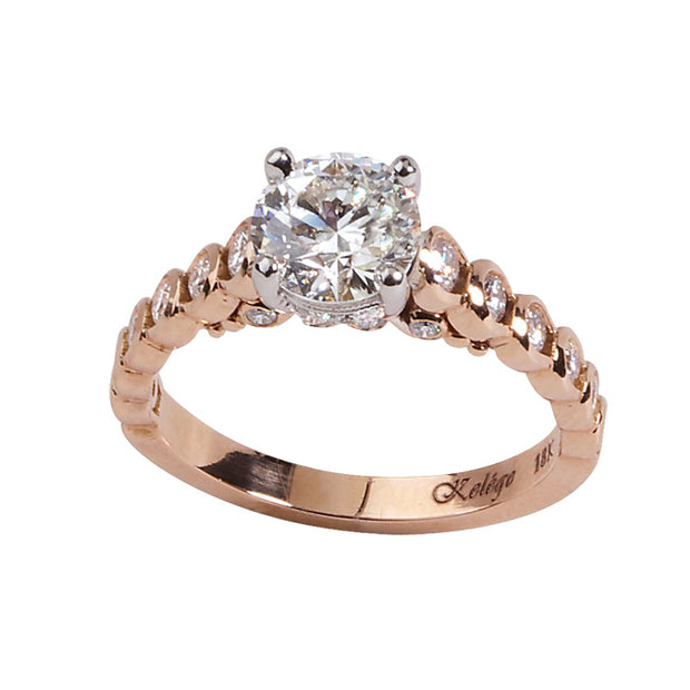 18K Rose Gold Diamond Semi Mounting