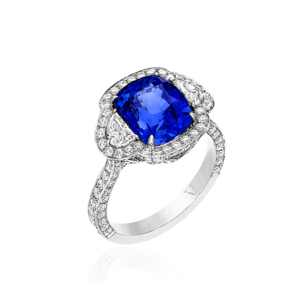 18K White Gold Sapphire and Diamond Halo Ring