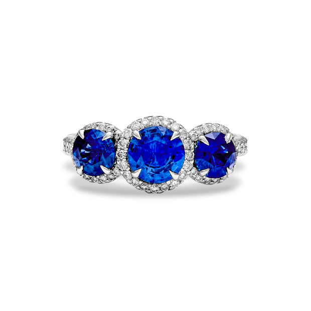 18K White Gold Blue Sapphire and Diamond Halo Three Stone Ring