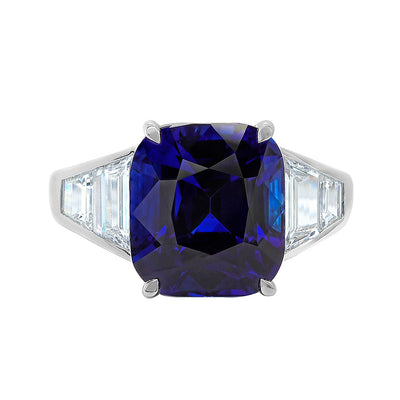 18K White Gold Cushion Sapphire and Baguette Diamond Ring
