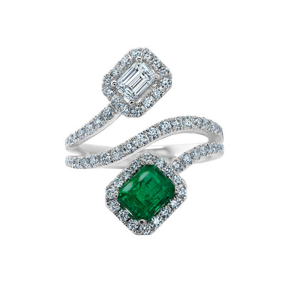 18K White Gold Emerald and Diamond Halo Three Row Bypass Ring