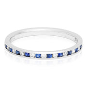 18K White Gold Sapphire and Diamond Band