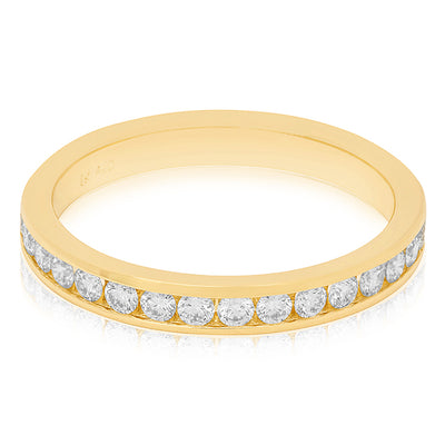 18K Yellow Gold Diamond Channel Band