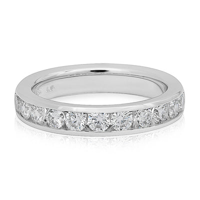18K White Gold and Diamond Channel Band