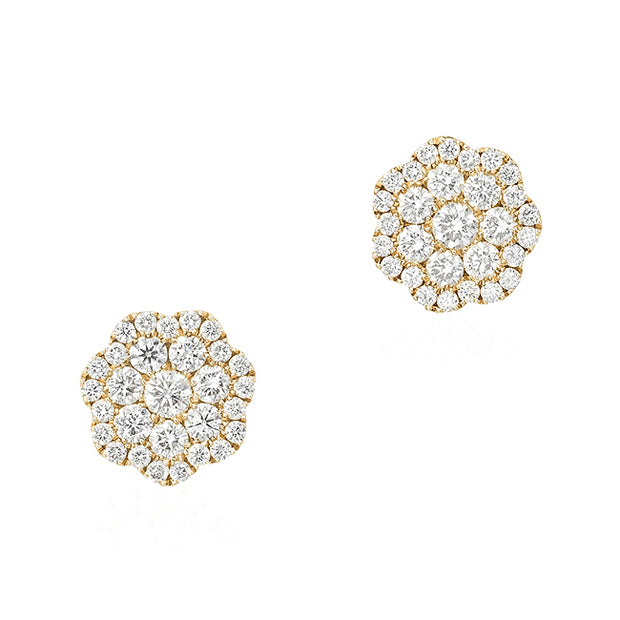 18K Yellow Gold Diamond Flower Earrings