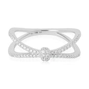 14K White Gold Criss-Cross Diamond Ring