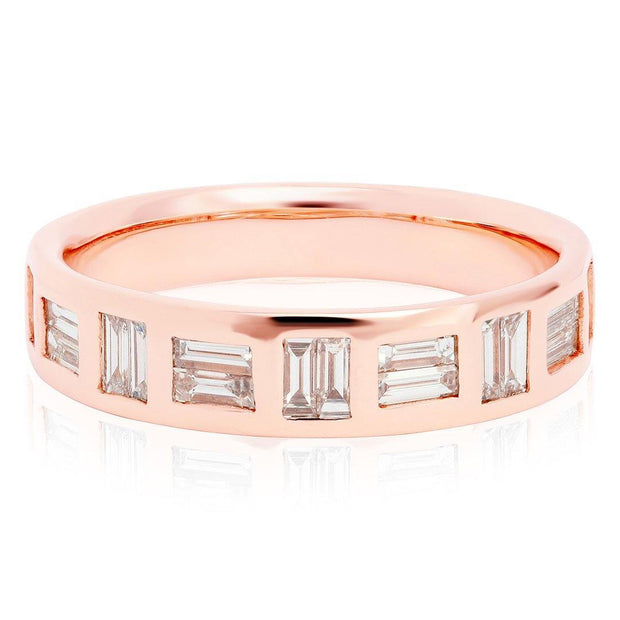 14K Rose Gold Baguette Diamond Band