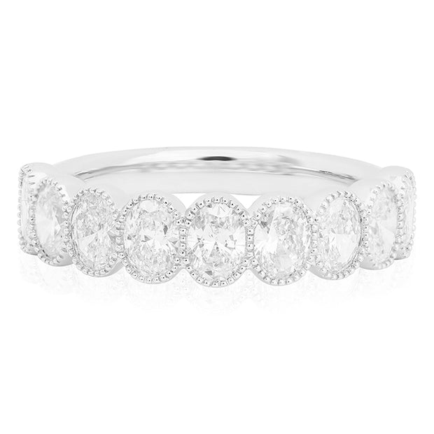 14K White Gold Oval Shape Diamond Band