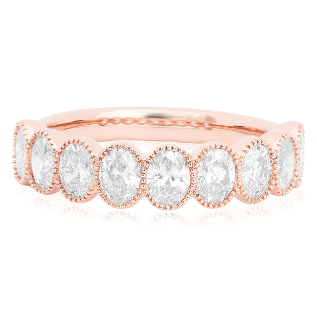 14K Rose Gold Oval Diamond Band
