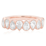 14K Rose Gold Pear Shape Diamond Band