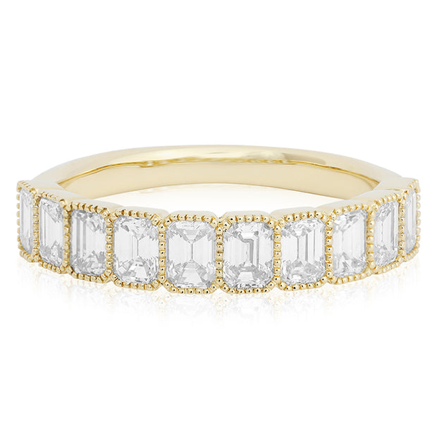 14K Yellow Gold Emerald Cut Diamond Band