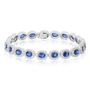 18K White Gold Bracelet with Sapphires and Diamonds