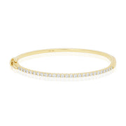 18K Yellow Gold and Diamond Hinged Bangle Bracelet