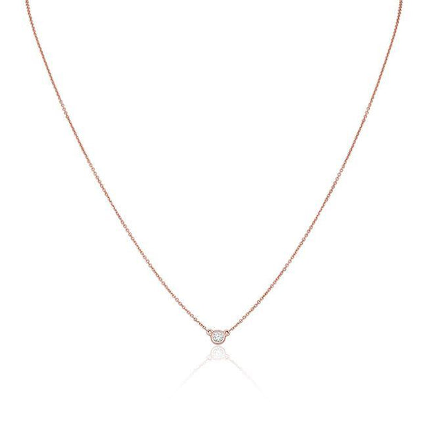 14K Rose Gold and Diamond Station Necklace