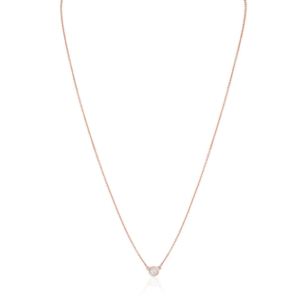 14K Rose Gold Necklace with a Diamond Pendant