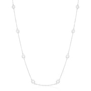 "14K WhiteGold 18"" Bezel Set Round Diamond Eyeglass Necklace"
