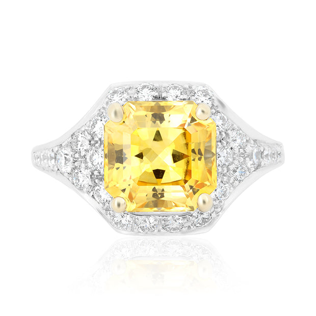 Platinum Ring with a Yellow Sapphire and Diamonds