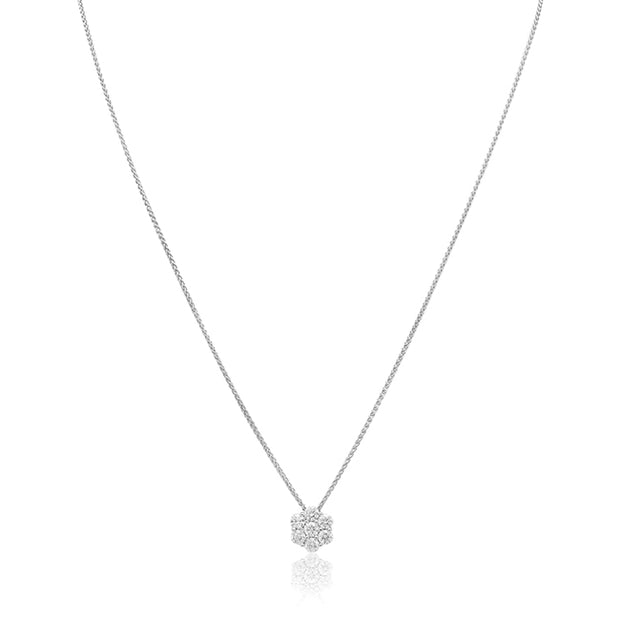 18K White Gold Floral Cluster Diamond Necklace