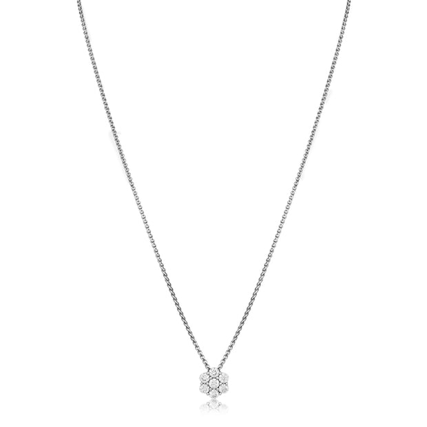 18K White Gold Diamond Cluster Necklace