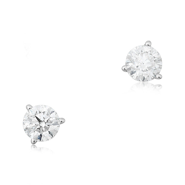 14K White Gold and Round Diamond Earrings