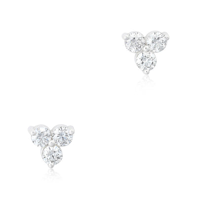 14K White Gold and Diamond Cluster Stud Earrings
