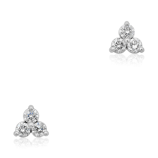 14K White Gold and Diamond Stud Earrings