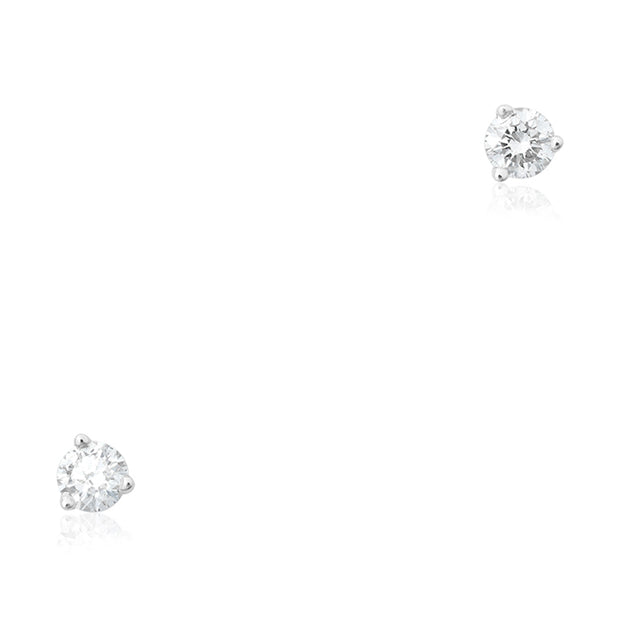 14K White Gold Diamond Stud Earrings
